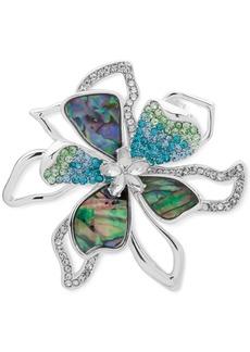 Anne Klein Silver-Tone Crystal & Stone Flower Pin