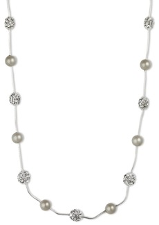 Anne Klein Silver-Tone Crystal Imitation Pearl Strand Necklace