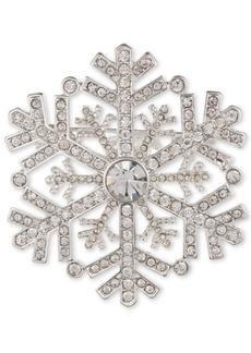 Anne Klein Silver-Tone Crystal Snowflake Pin