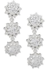 Anne Klein Silver-Tone Crystal Triple Drop Earrings