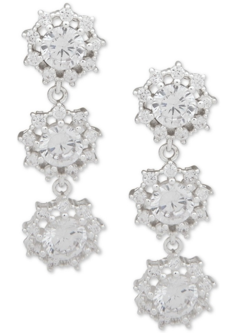 Anne Klein Silver-Tone Crystal Triple Drop Earrings