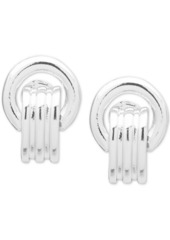 Anne Klein Silver-Tone E-z Comfort Clip-On Button Earrings