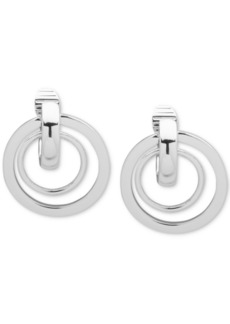 Anne Klein Silver-Tone Orbital Clip-On Drop Earrings