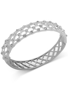 Anne Klein Silver-Tone Pave Cage Oval Bangle Bracelet
