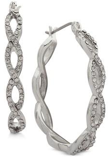 Anne Klein Silver-Tone Pave Interlocked Link Hoop Earrings