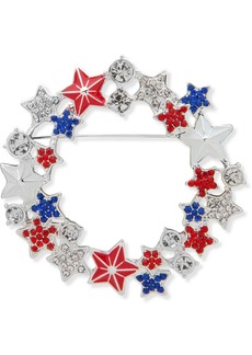 Anne Klein Silver-Tone Pave Star Red, White & Blue Wreath Pin, Created for Macy's
