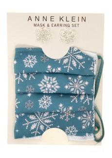 Anne Klein Silver-Tone Snowflake Stud Earrings & Face Mask Set