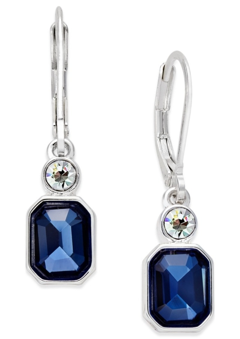 Anne Klein Silver-Tone Stone and Crystal Drop Earrings
