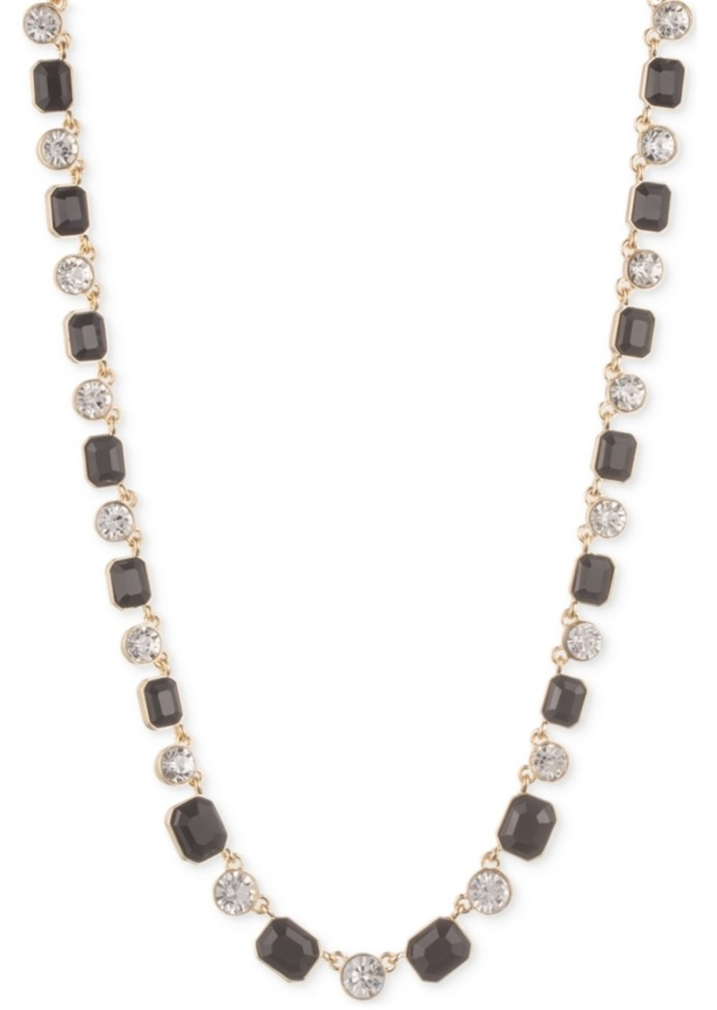 Anne Klein Silver-Tone Stone and Crystal Necklace