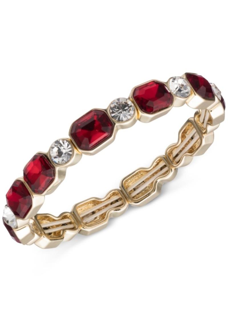 Anne Klein Silver-Tone Stone and Crystal Stretch Bracelet