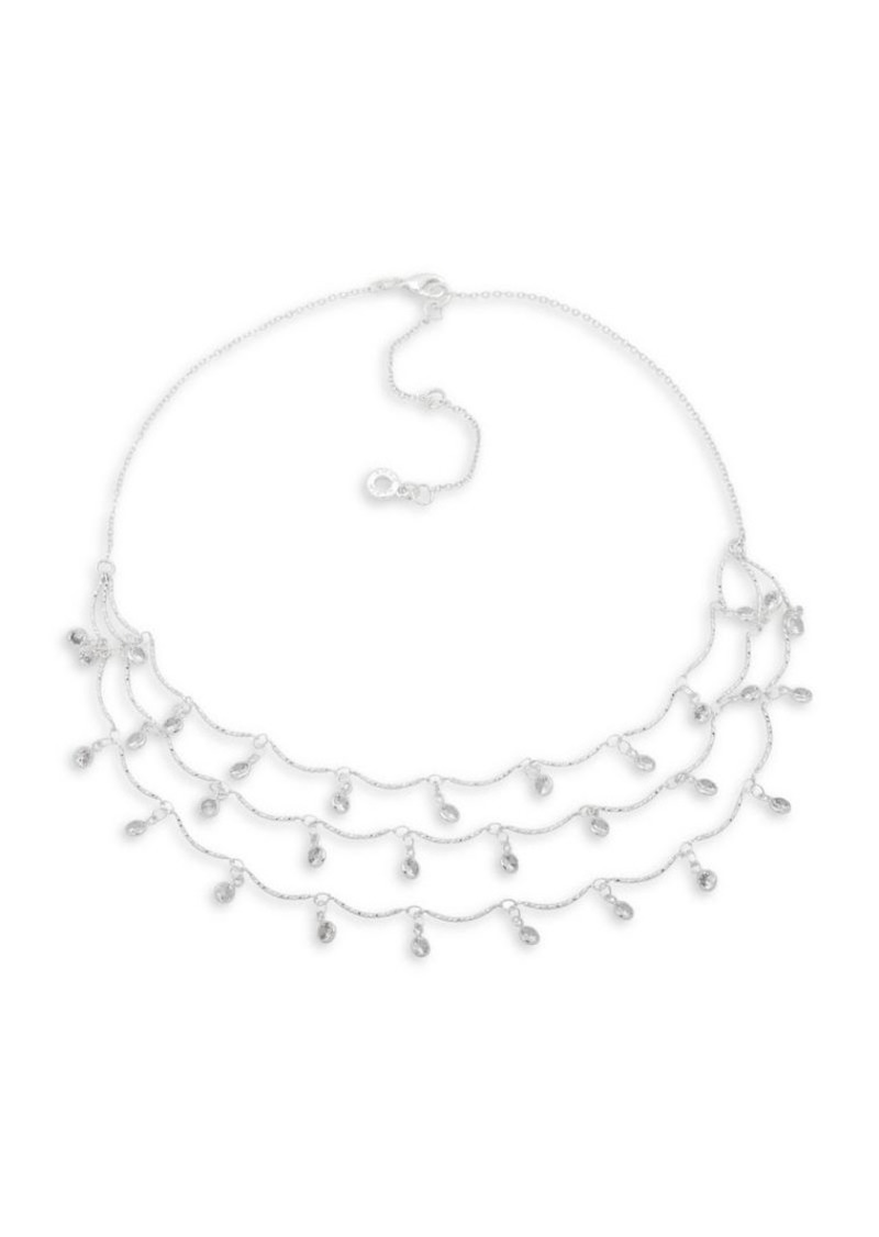 Anne Klein Silvertone 3-Row Shaky Crystal Necklace