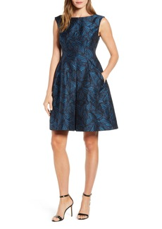 Anne Klein Sleeveless Jacquard Fit & Flare Dress