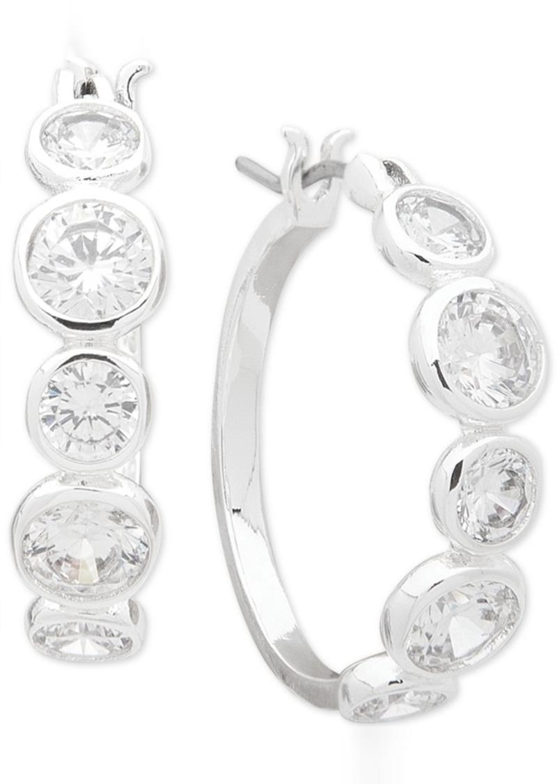 """Anne Klein Small Silver-Tone Crystal Hoop Earrings 7/8"""""""