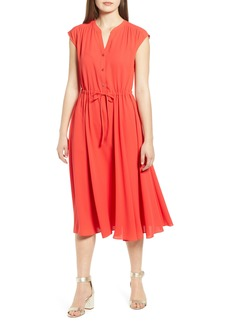 Anne Klein Split Neck Drawstring Midi Dress