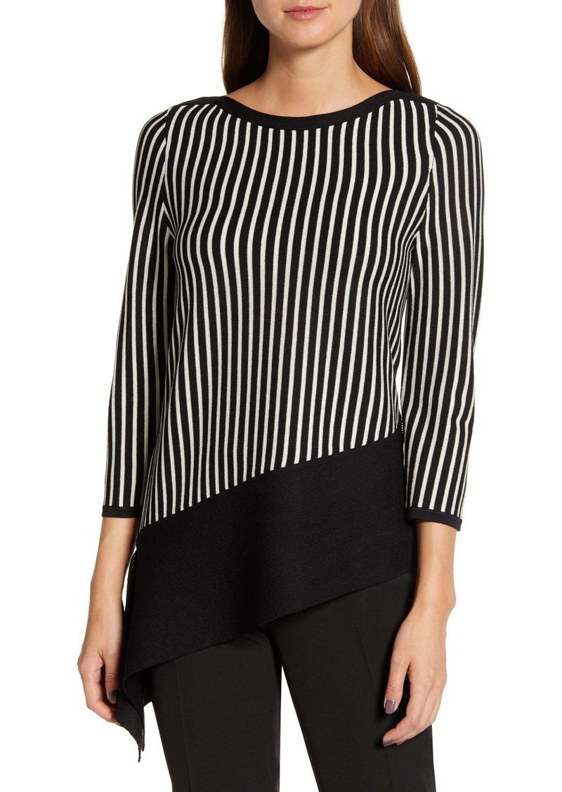 Anne Klein Stripe Asymmetrical Top