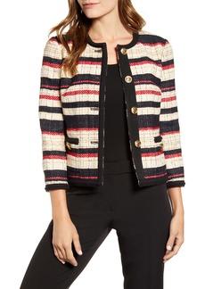 Anne Klein Stripe Braided Trim Collarless Cotton Blend Jacket