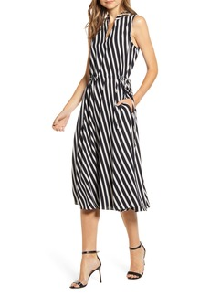 Anne Klein Stripe Drawstring Side Dress