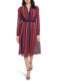 Anne Klein Stripe Fit & Flare Dress
