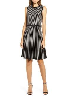 Anne Klein Stripe Fit & Flare Sweater Dress