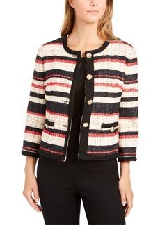 Anne Klein Striped Braided-Trim Jacket