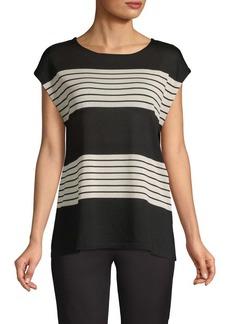 Anne Klein Striped Cap-Sleeve Top