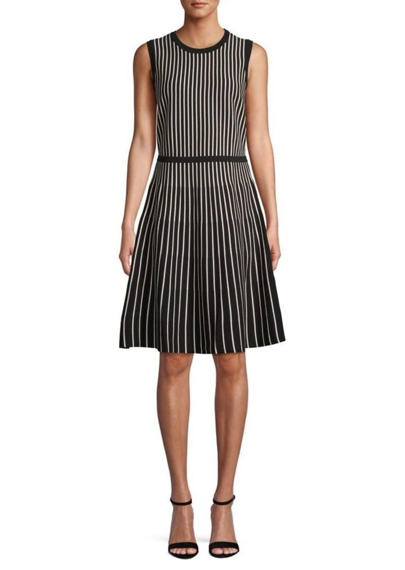 Anne Klein Striped Sleeveless Sweater Fit-&-Flare Dress
