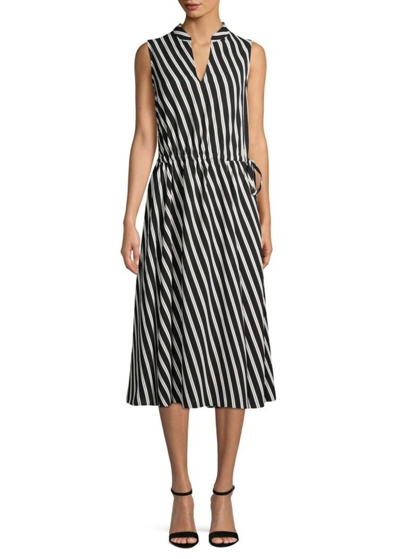 Anne Klein Striped Splitneck Drawstring Midi Dress
