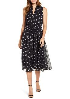 Anne Klein Tess Ginkgo Print Chiffon Dress