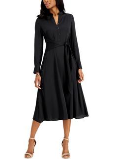 Anne Klein Tie-Front Shirt Dress
