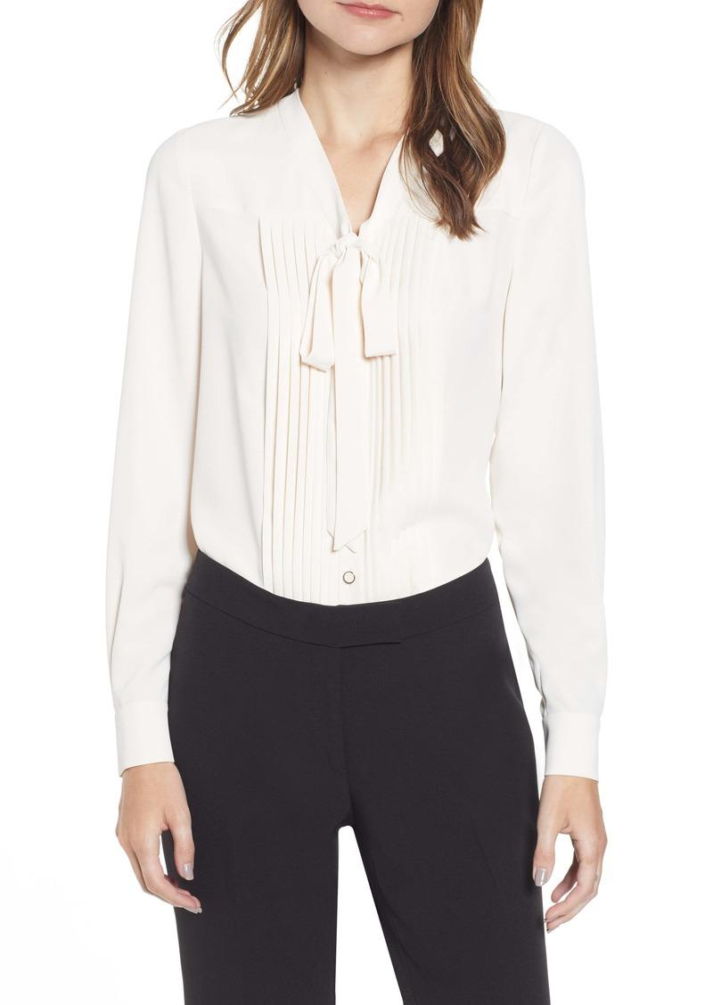 Anne Klein Tie Neck Button Front Long Sleeve Blouse