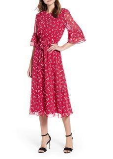 Anne Klein Tie Waist Ruffle Sleeve Dress