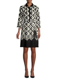 Anne Klein Tied Contrast-Print Shirt Dress