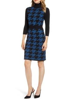 Anne Klein Turtleneck Houndstooth Sweater Dress