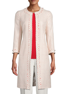 Anne Klein Tweed Fringe Coat