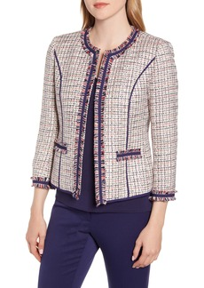 Anne Klein Twill Fringe Jacket