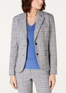 Anne Klein Two-Button Plaid Jacket