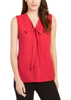 Anne Klein V-Neck Pleated Bow Blouse