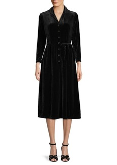 Anne Klein Velvet Long-Sleeve Midi Dress