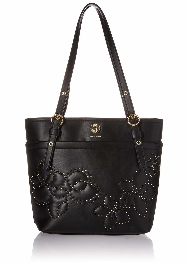 Anne Klein Vern Quilted Micro Studded Pocket Tote black