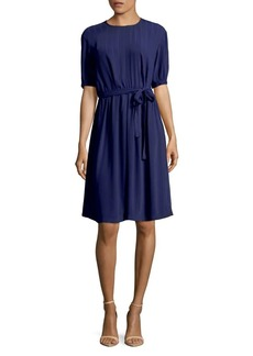 Anne Klein Waist-Tie Stripe Fit-and-Flare Dress