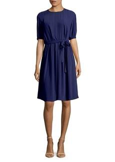 Anne Klein Waist-Tie Stripe Fit-and-Flare Dress