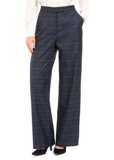 Anne Klein Wide-Leg Plaid Pants