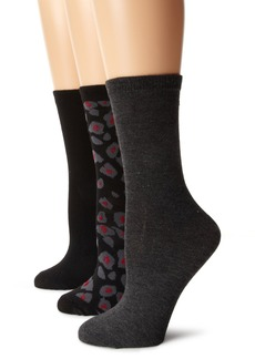 Anne Klein Women's 3 Pair Pack Leopard Crew Socks Black/Black/Charcoal
