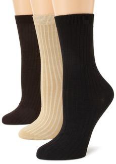 Anne Klein Women's 3 Pair Pack Rib Crew Socks