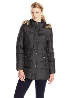 Anne Klein Women's 30 Inch Down Coat with Faux Fur Trim Hood