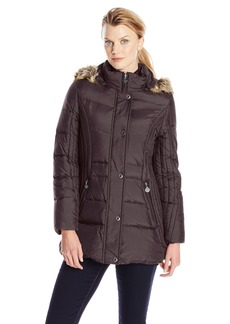 Anne Klein Women's 30 Inch Down Coat With Faux Fur Trim Hood  Large