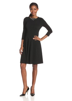 Anne Klein Women's 3/4 Sleeve Embellished Neck Dress
