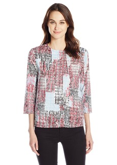 Anne Klein Women's 3/4 Sleeve Ornette Stripe Blouse