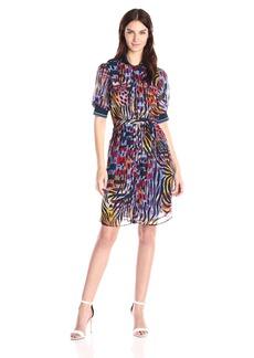 Anne Klein Women's 3/4 Sleeve Printed Shirt Dress