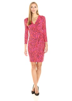Anne Klein Women's 3/4 Sleeve Side Draped Printed Matte Jersey Dress